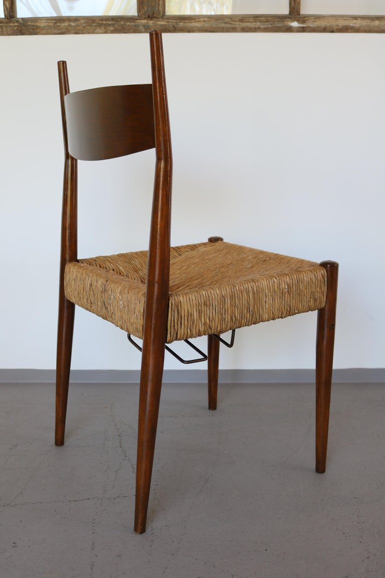 Set of 12 Wooden Chairs with Rush Seat Attributed to Egon Eiermann, 1960 For Sale 3