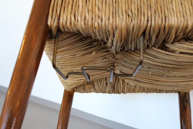 Set of 12 Wooden Chairs with Rush Seat Attributed to Egon Eiermann, 1960 For Sale 4