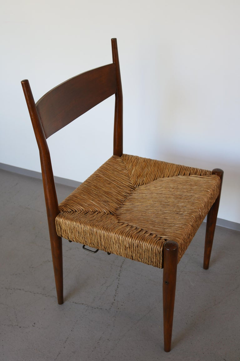 Set of 12 Wooden Chairs with Rush Seat Attributed to Egon Eiermann, 1960 For Sale 6