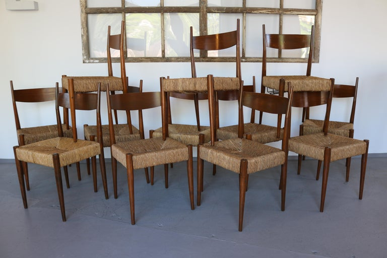 Mid-Century Modern Set of 12 Wooden Chairs with Rush Seat Attributed to Egon Eiermann, 1960 For Sale