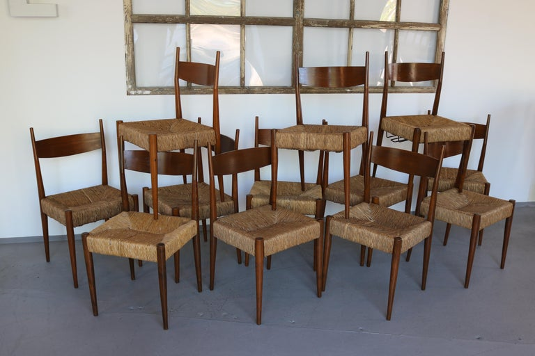 Set of 12 Wooden Chairs with Rush Seat Attributed to Egon Eiermann, 1960 In Good Condition For Sale In Nürnberg, DE