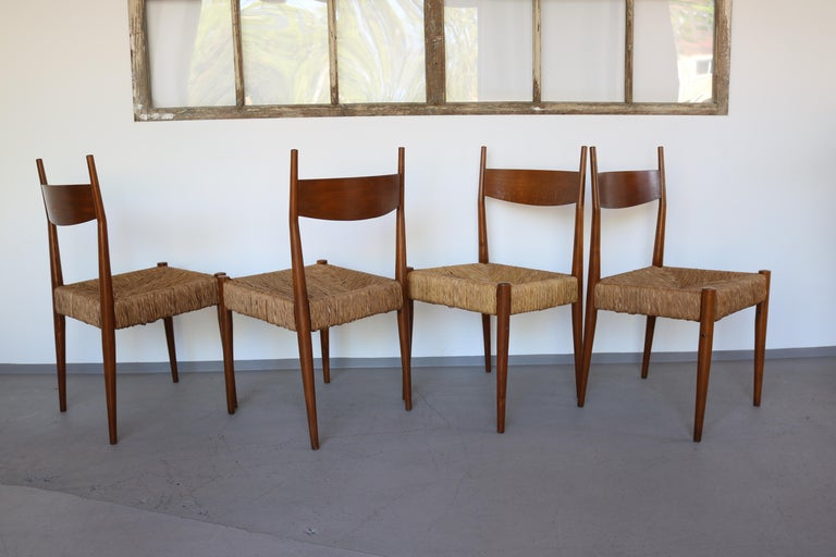 Hardwood Set of 12 Wooden Chairs with Rush Seat Attributed to Egon Eiermann, 1960 For Sale