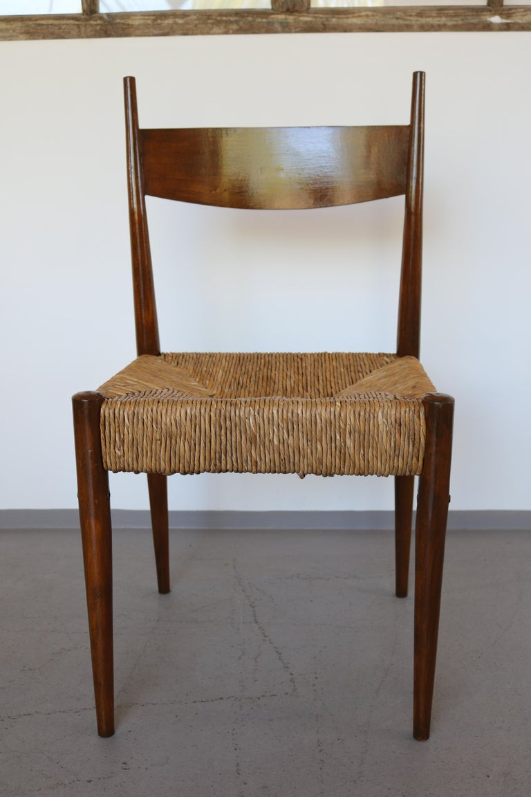 Set of 12 Wooden Chairs with Rush Seat Attributed to Egon Eiermann, 1960 For Sale 1