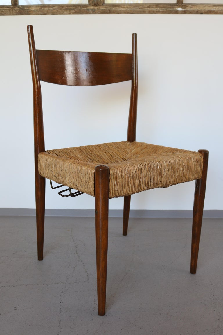 Set of 12 Wooden Chairs with Rush Seat Attributed to Egon Eiermann, 1960 For Sale 2