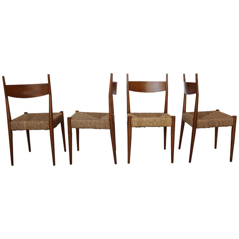 Set of 12 Wooden Chairs with Rush Seat Attributed to Egon Eiermann, 1960 For Sale