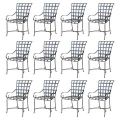 Set of 12 Wrought Iron Chairs in the Style of Mario Papperzini, Italy, 1950s