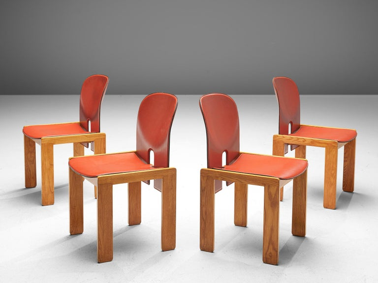 Afra and Tobia Scarpa for Cassina, set of four chairs model 121, leather and maple, Italy, design 1965, production later.  Set of four chairs by the Italian designer couple Tobia and Afra Scarpa. These chairs have a cubic and architectural