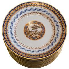 Set of 13 Antique Richard Ginori Iron Red and Blue Gilt Side Plates
