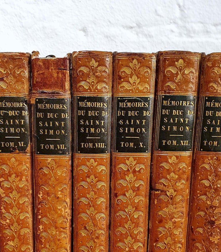 Embossed Set of 13 French Leather Bound Books For Sale