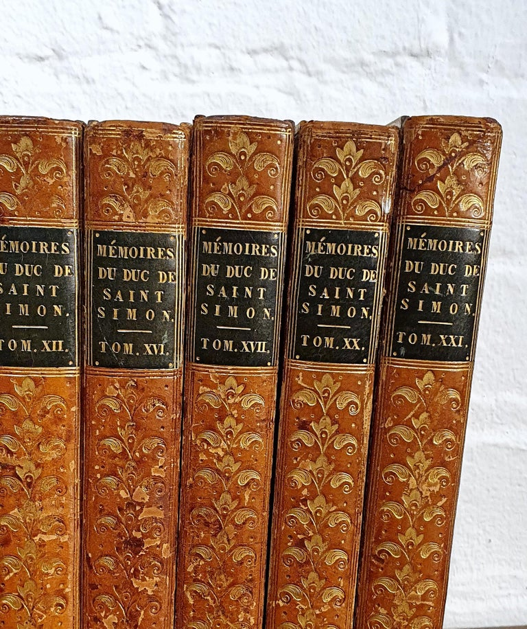 Set of 13 French Leather Bound Books In Good Condition For Sale In London, GB
