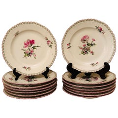 Set of 13 KPM Dinner Plates Each Painted Differently With Raised Forget Me Nots