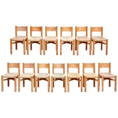 Set of 13 Meribel Chairs, circa 1950 by Charlotte Perriand