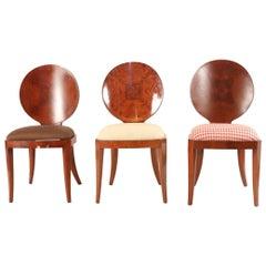 Set of 13 Midcentury Maple Veneer Oval Back Side Chairs
