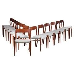 Set of 13 Scandinavian Teak Chairs by Danish Designer Niels Otto Moller B17-E542