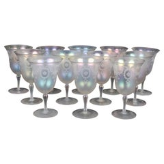 Set of 13 Steuben Verre de Soie Water Goblets with Pitcher