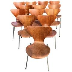 Set of 13 Teak Chairs Design Arne Jacobsen