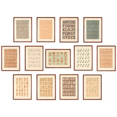 Set of 13 Typography Alphabet Lithograph Prints by Thézard