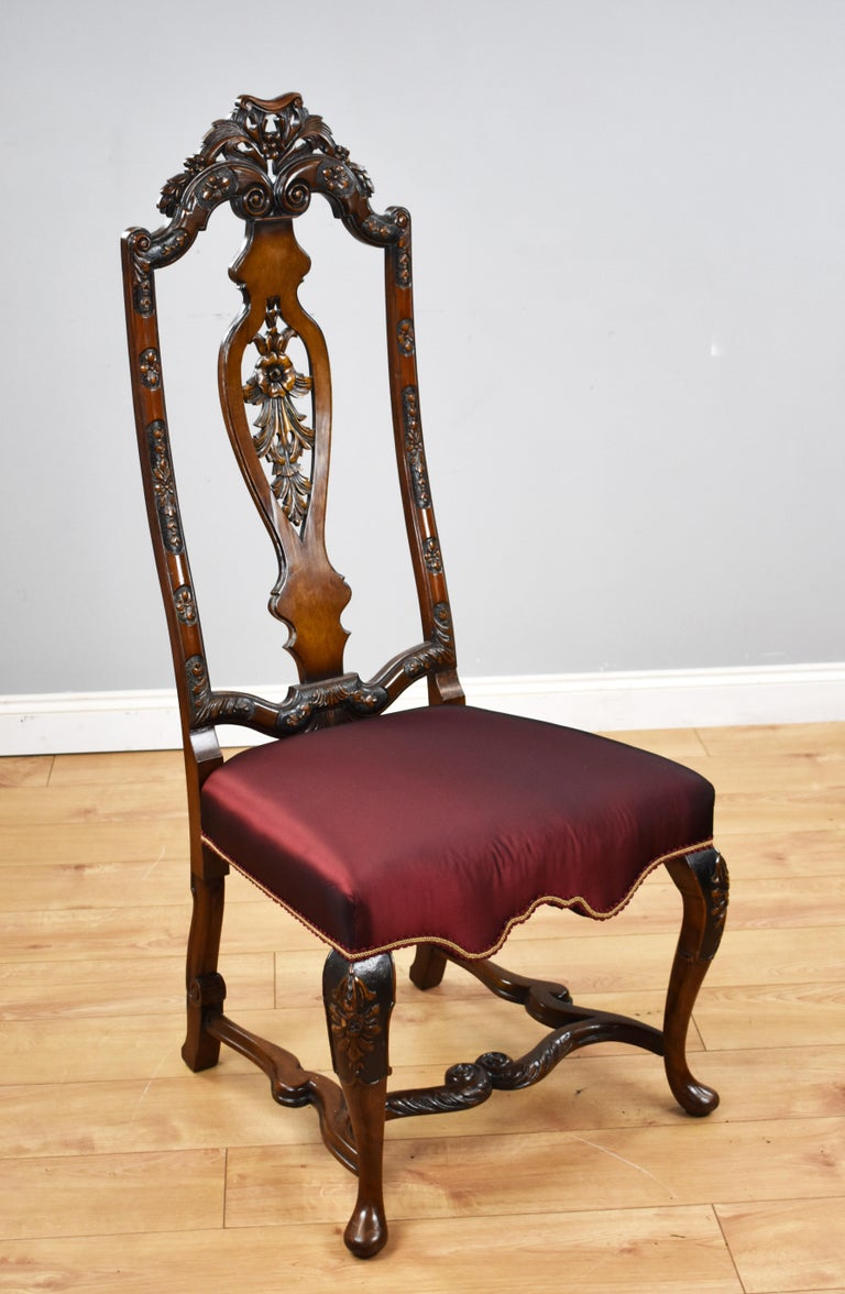 Set of 14 20th Century English Antique Queen Anne Style Dining Chairs For Sale 4