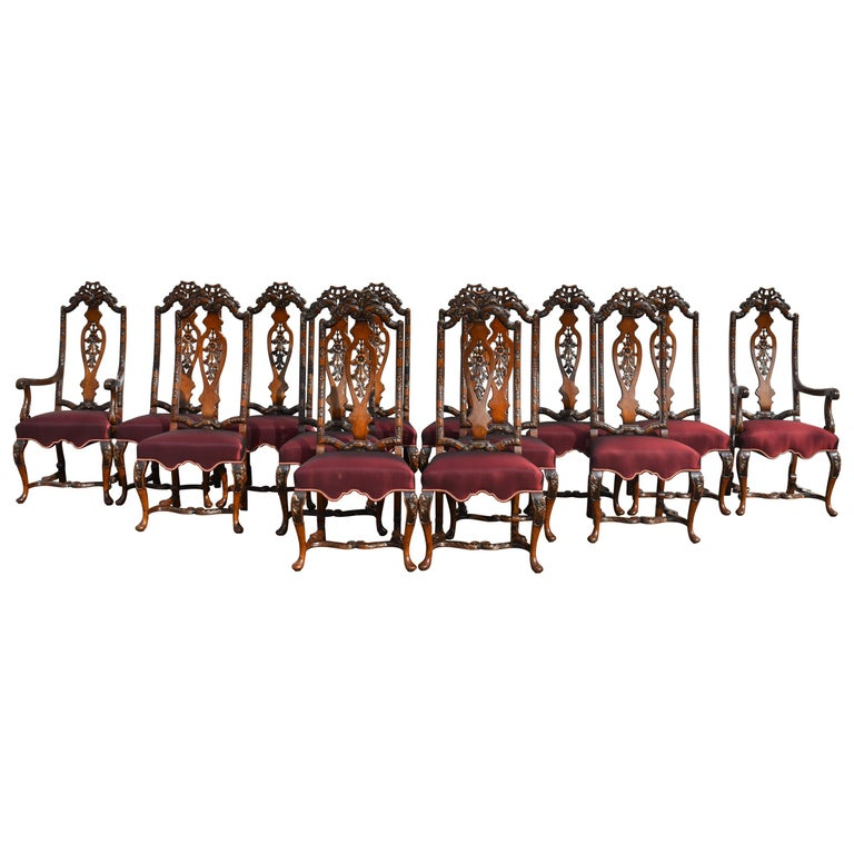 Set of 14 20th Century English Antique Queen Anne Style Dining Chairs For Sale