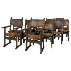 Set of 14 Antique Spanish Dining Chairs with Leather
