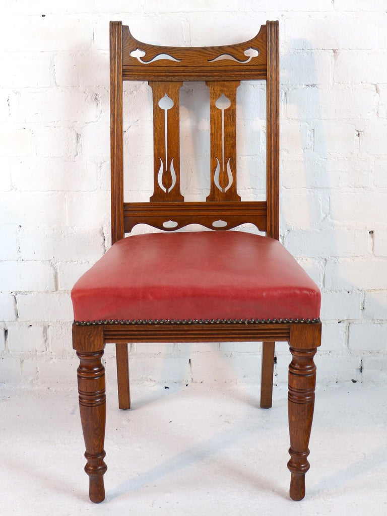 Set of 14 Arts and Crafts Oak Dining Chairs For Sale at ...