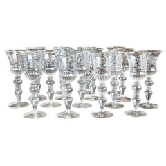 Set of 14 Blown and Etched Venetian Glass Wine Goblets