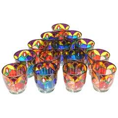 Set of 14 Colored Glasses Made in Ibiza, circa 2000