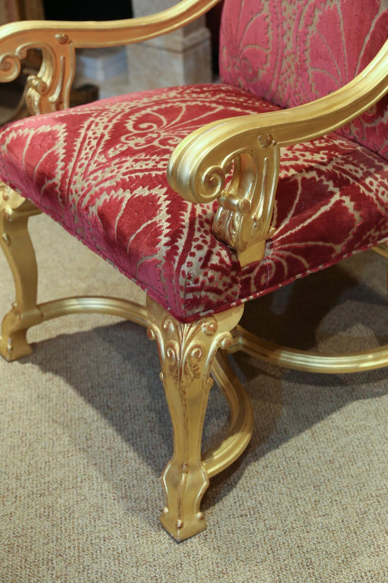 Contemporary Set of 14 Custom Made Dining Chairs in the French Style, Giltwood For Sale