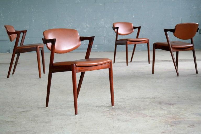 Danish Set of 14 Kai Kristiansen Model 42 Rosewood Dining Chairs for Schou Andersen