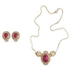 Set of 14 Karat Gold, Ruby and Diamonds Pendant with Chain and Earrings