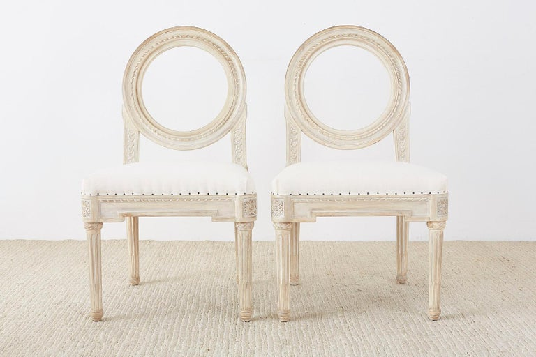 American Set of 14 Louis XVI Gustavian Style Dining Chairs For Sale