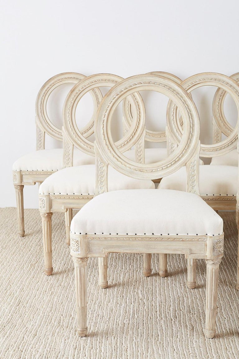 Set of 14 Louis XVI Gustavian Style Dining Chairs In Good Condition For Sale In Oakland, CA