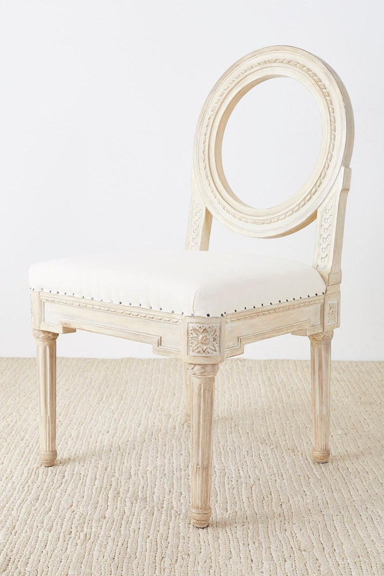 Muslin Set of 14 Louis XVI Gustavian Style Dining Chairs For Sale