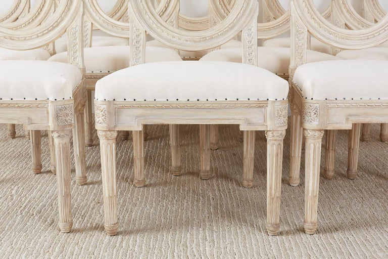 Set of 14 Louis XVI Gustavian Style Dining Chairs For Sale 1