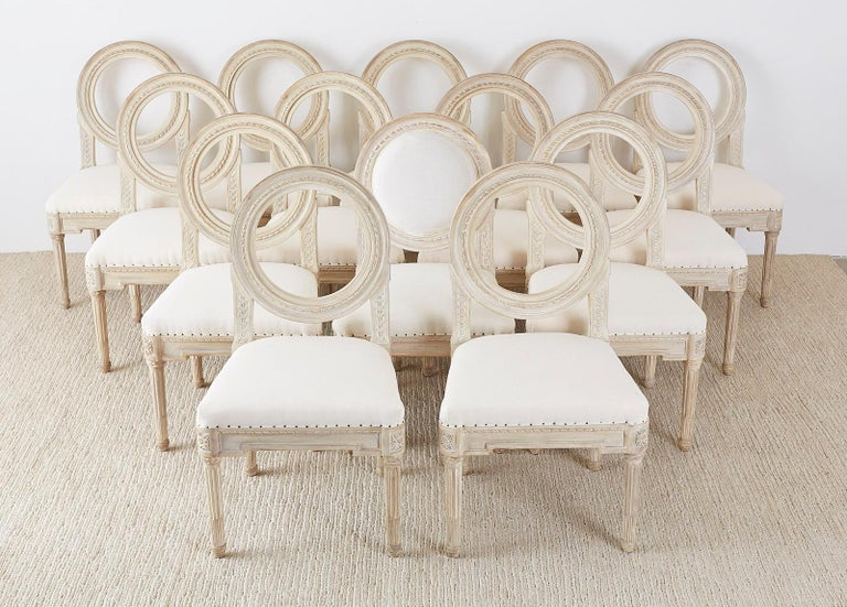 Set of 14 Louis XVI Gustavian Style Dining Chairs For Sale 2
