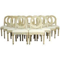 Set of 14 Louis XVI Gustavian Style Dining Chairs