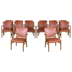 Set of 14 Midcentury Danish Conference/ Dining Chairs  in Elm and Cognac Leather