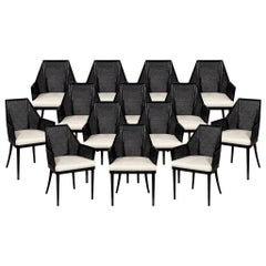 Set of 14 Modern Black Cane Dining Chairs by Baker Kara Man