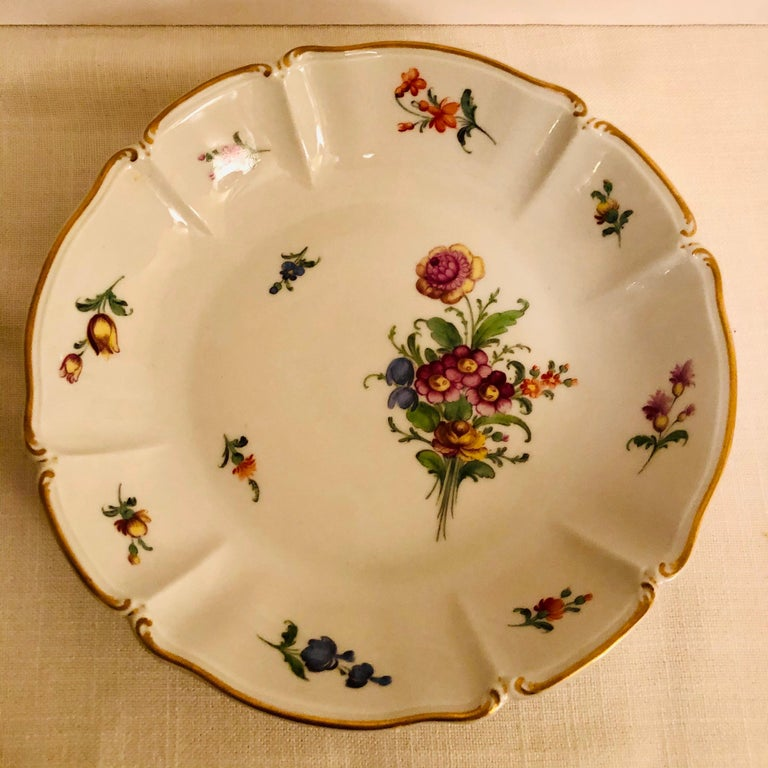 Set of 14 Nymphenburg Soup Bowls Each Painted With a Different Flower Bouquet For Sale 2