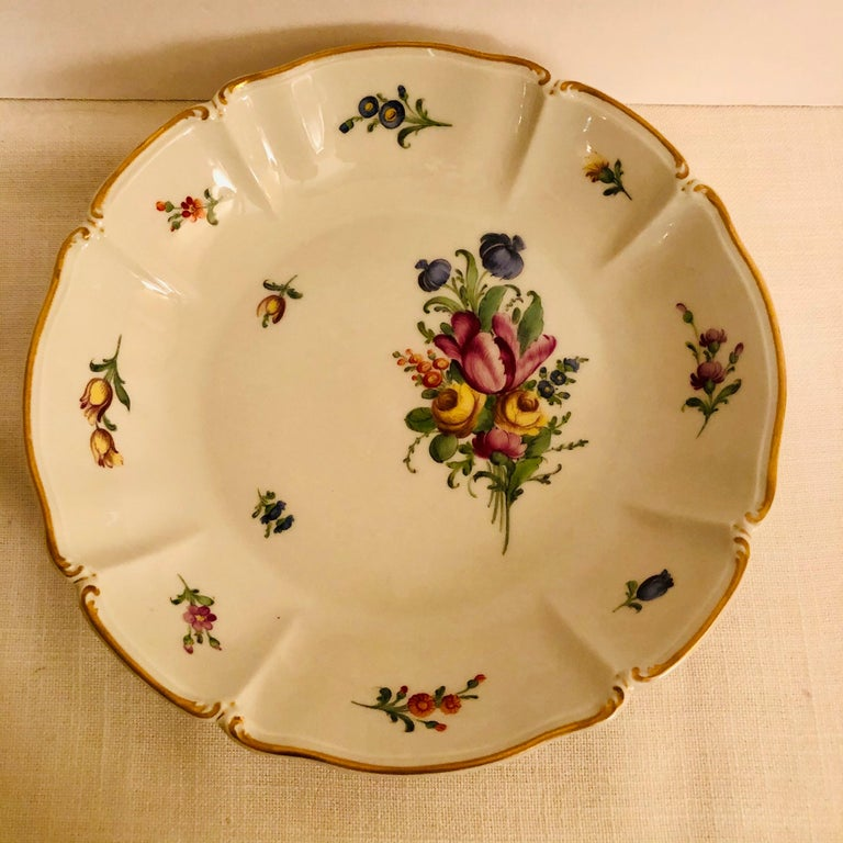 Set of 14 Nymphenburg Soup Bowls Each Painted With a Different Flower Bouquet For Sale 3