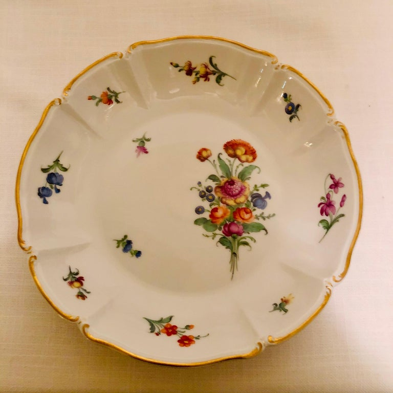 Set of 14 Nymphenburg Soup Bowls Each Painted With a Different Flower Bouquet For Sale 4