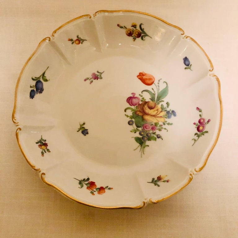 Set of 14 Nymphenburg Soup Bowls Each Painted With a Different Flower Bouquet For Sale 5
