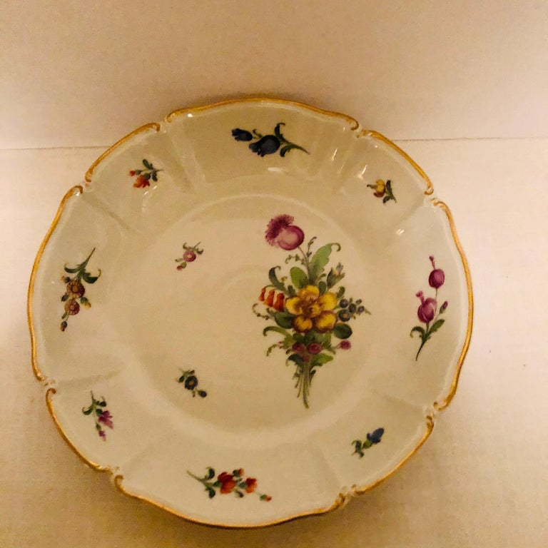 Set of 14 Nymphenburg Soup Bowls Each Painted With a Different Flower Bouquet For Sale 6