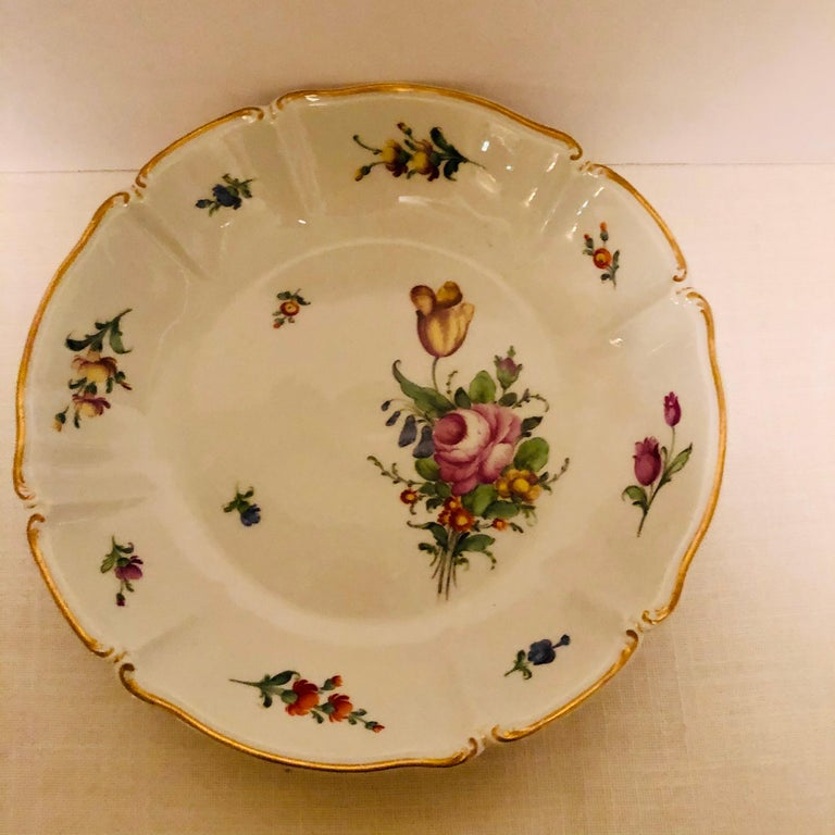 Set of 14 Nymphenburg Soup Bowls Each Painted With a Different Flower Bouquet For Sale 7