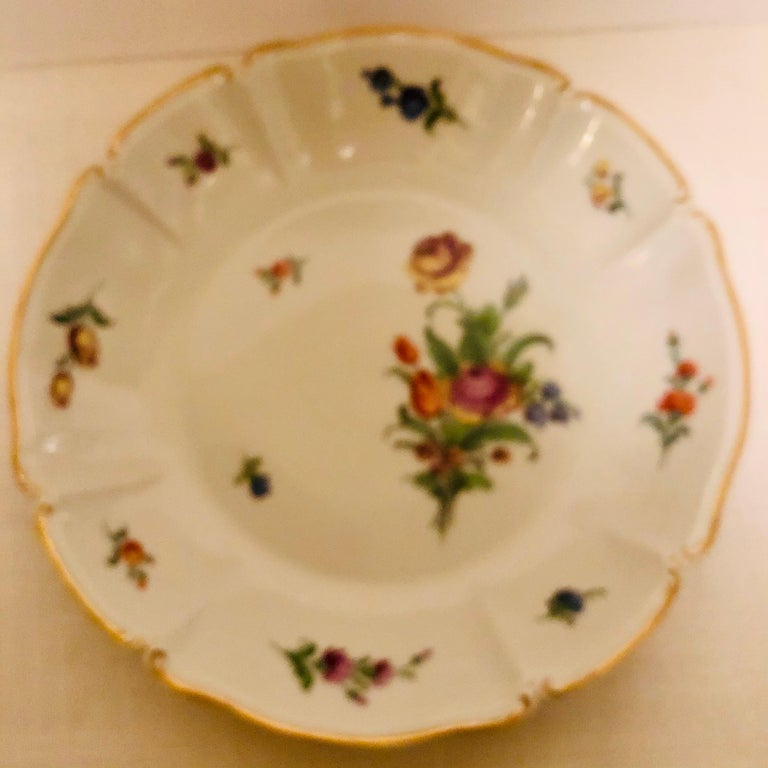 Set of 14 Nymphenburg Soup Bowls Each Painted With a Different Flower Bouquet For Sale 8