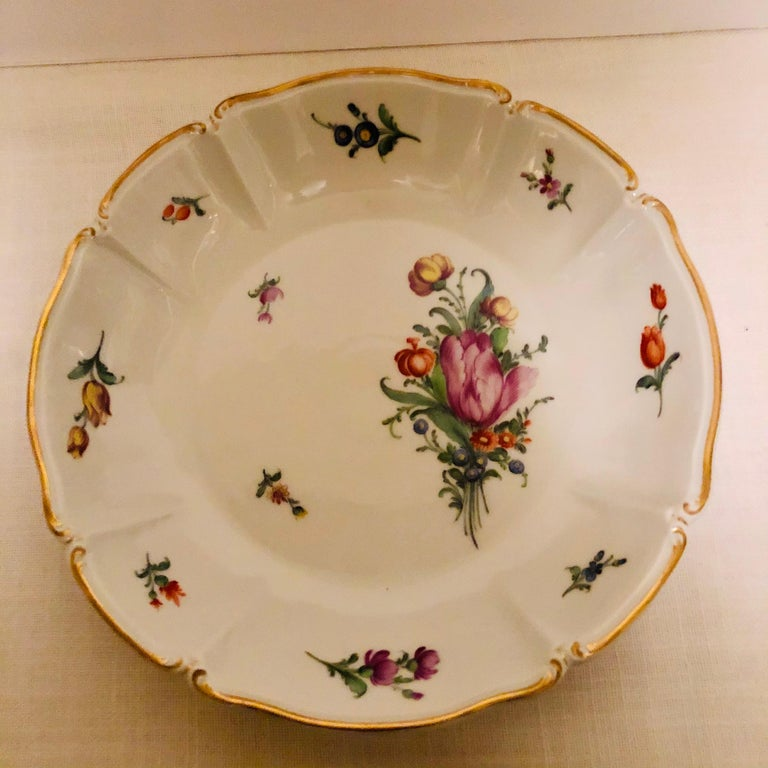 Set of 14 Nymphenburg Soup Bowls Each Painted With a Different Flower Bouquet For Sale 9