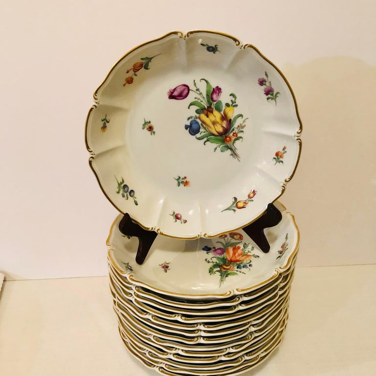 Set of 14 Nymphenburg Soup Bowls Each Painted With a Different Flower Bouquet For Sale 12