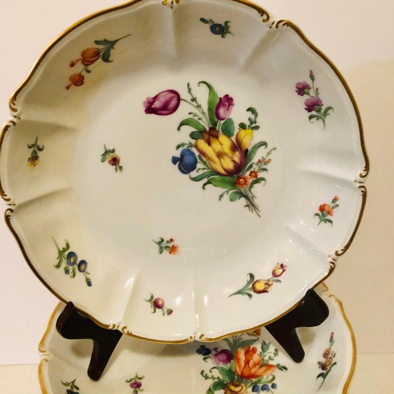 Romantic Set of 14 Nymphenburg Soup Bowls Each Painted With a Different Flower Bouquet For Sale