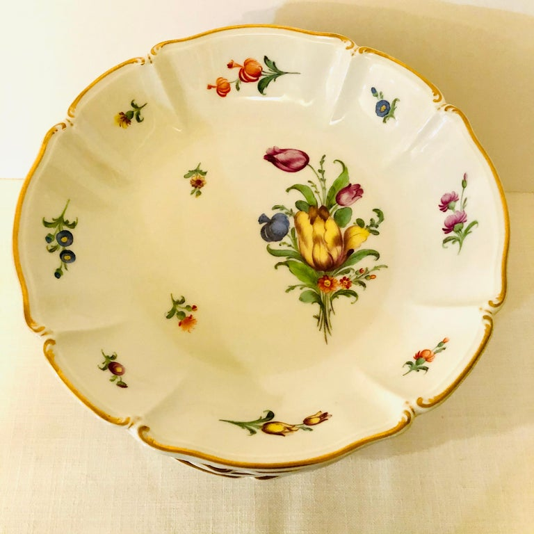 German Set of 14 Nymphenburg Soup Bowls Each Painted With a Different Flower Bouquet For Sale