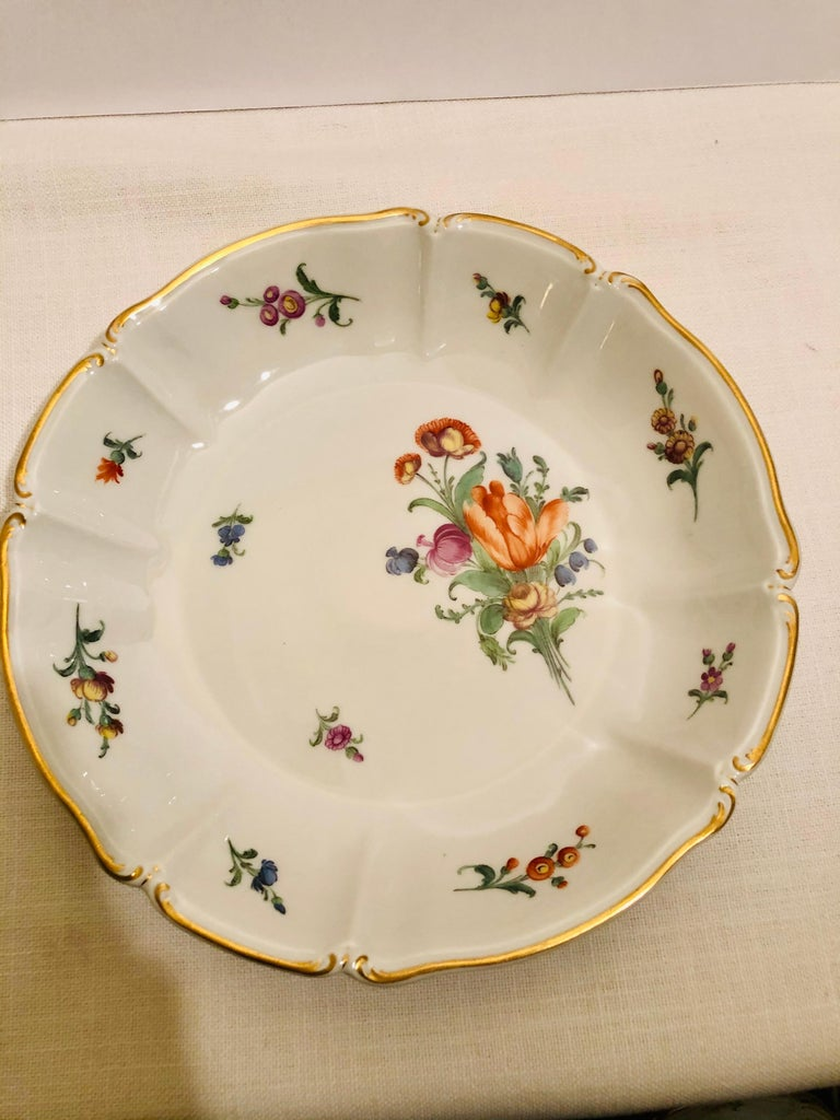 Hand-Painted Set of 14 Nymphenburg Soup Bowls Each Painted With a Different Flower Bouquet For Sale